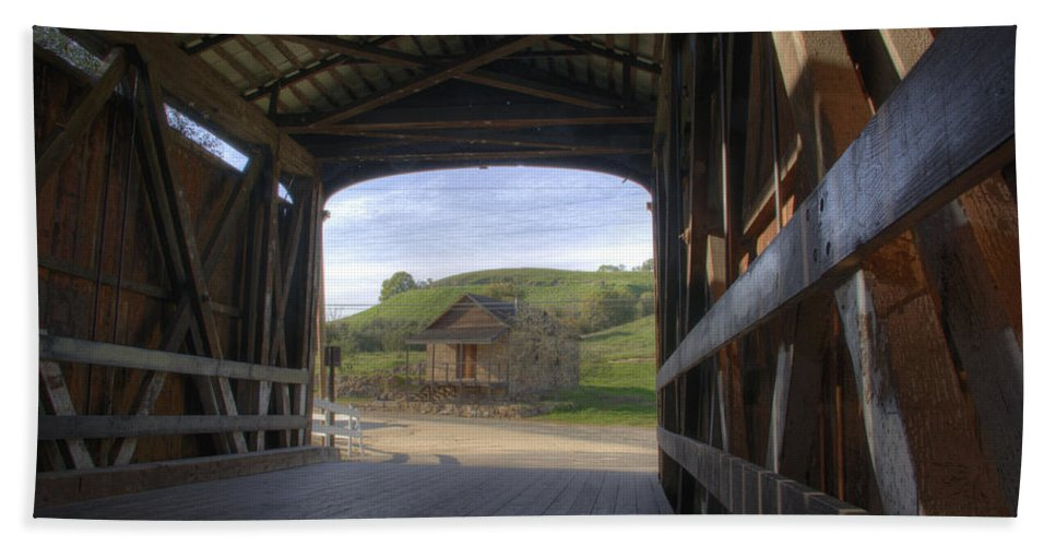 Knights Ferry Hand Towel featuring the photograph Knights Ferry Covered Bridge by Jim And Emily Bush
