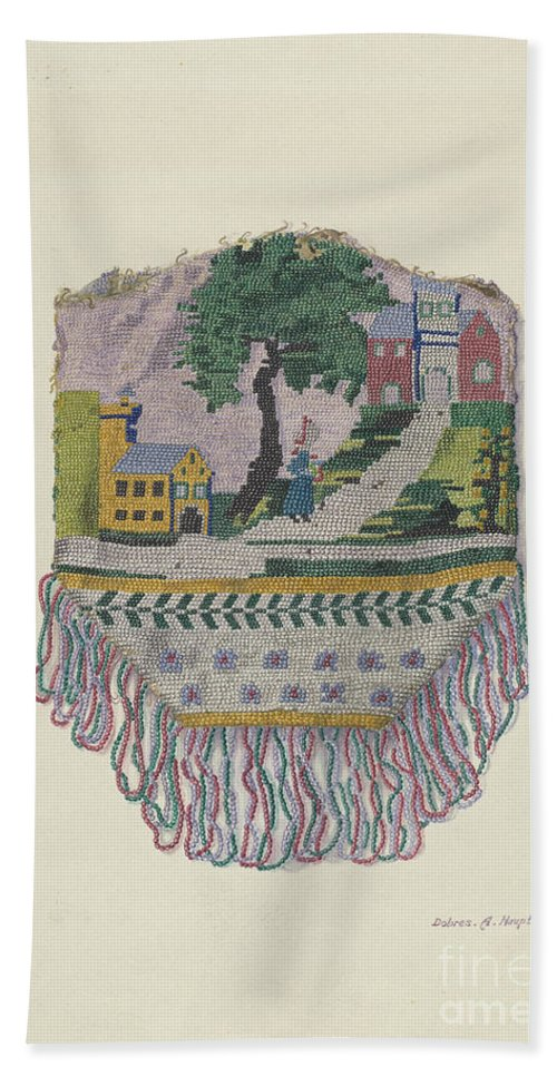 Hand Towel featuring the drawing Knit Beaded Bag by Dolores Haupt