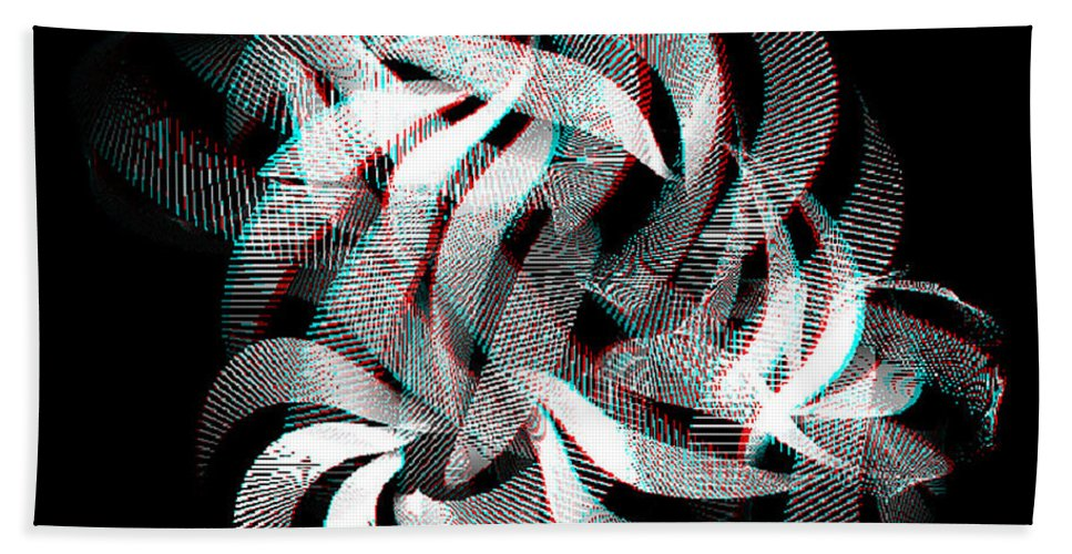 3d Hand Towel featuring the digital art Knotplot 1 - Use Red-cyan 3d Glasses by Brian Wallace