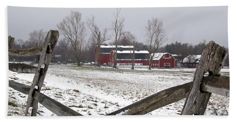 Barn Bath Sheet featuring the photograph Knox Farm In Winter 0980 by Guy Whiteley