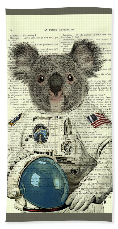 Astronaut Hand Towel featuring the digital art Koala in space illustration by Madame Memento