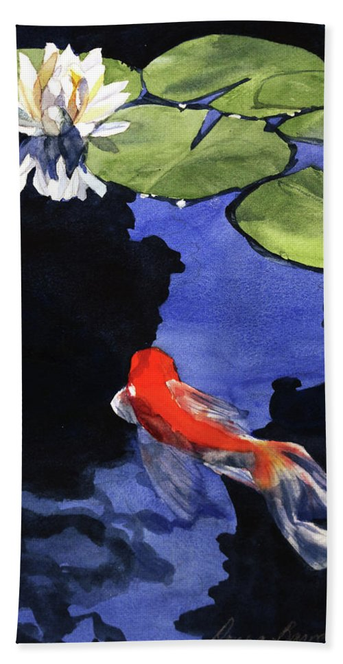 Watercolor Bath Sheet featuring the painting Koi Ballet by Donna Barnes-Roberts