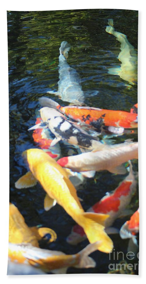 Koi Hand Towel featuring the photograph Koi Fish 2 by Marta Robin Gaughen