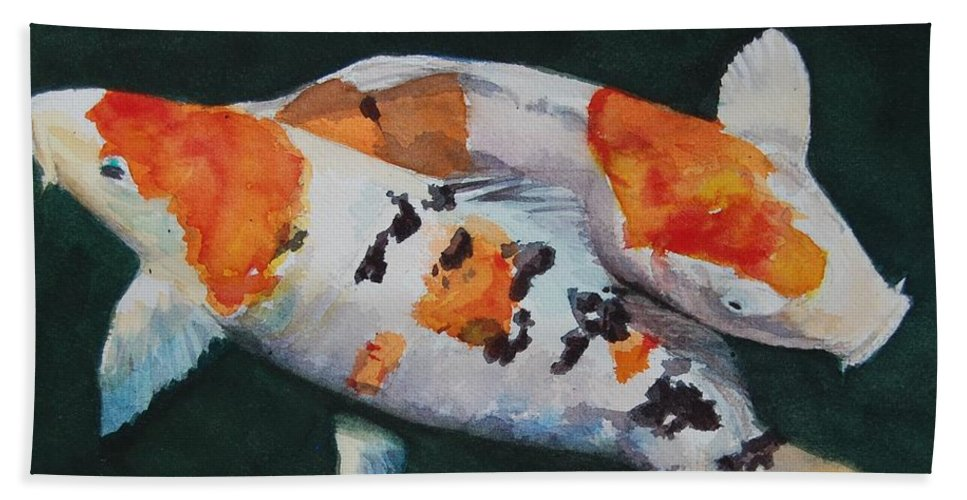 Koi Bath Sheet featuring the painting Koi Fish by Brad Schulze
