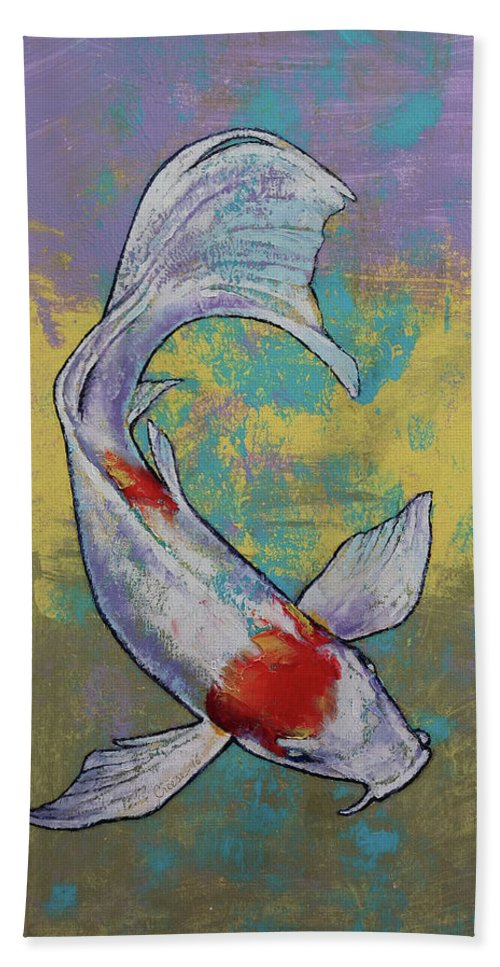Asian Bath Towel featuring the painting Koi Fish by Michael Creese