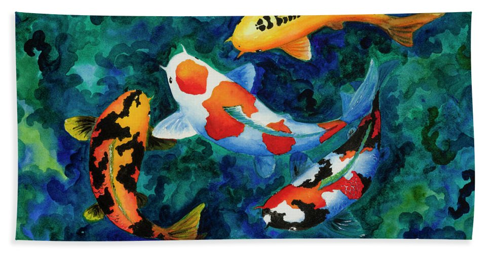 Koi Hand Towel featuring the painting Koi Group by Corrado Ghioldi