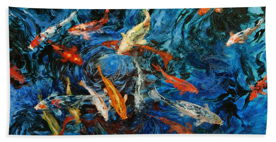 Koi Bath Towel featuring the painting Koi IIi by Rick Nederlof