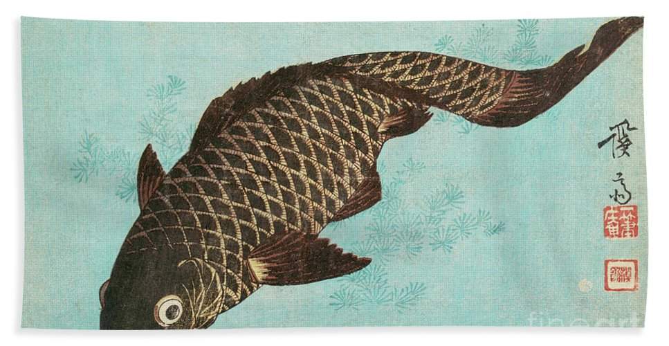 Carp Bath Sheet featuring the painting Koi by Keisai Eisen