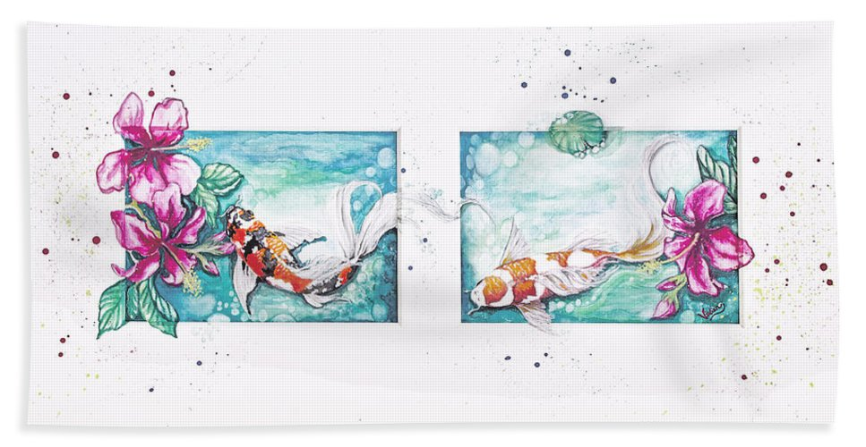 Koi Pond Hand Towel featuring the painting Koi Of The Tropics by Vivian Casey