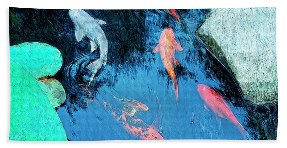 Koi Hand Towel featuring the painting Koi Pond 1 by Dominic Piperata