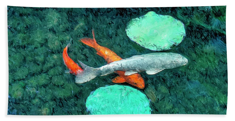 Koi Hand Towel featuring the painting Koi Pond 3 by Dominic Piperata
