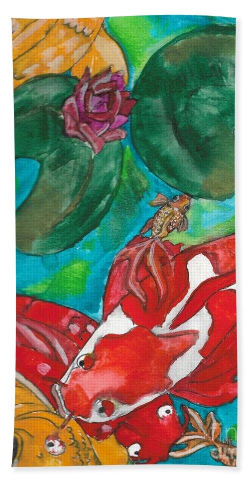 Koi Pond Bath Sheet featuring the painting Koi Pond by Hanna Szafranski
