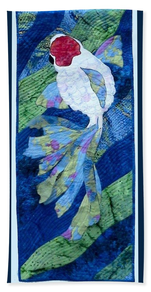Single Koi Swimming Hand Towel featuring the tapestry - textile Koi Serenity by Dolores Fegan