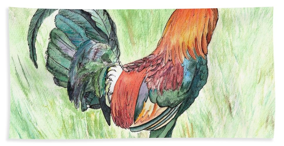 Roosters Hand Towel featuring the painting Kokee Rooster by Marionette Taboniar
