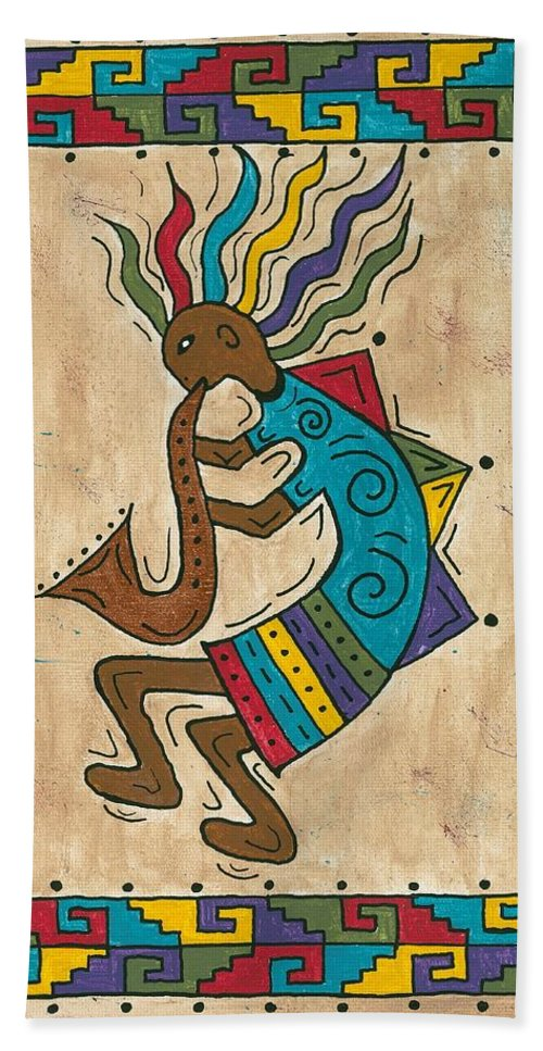 Susie Weber Hand Towel featuring the painting Kokopelli Sax Player by Susie WEBER