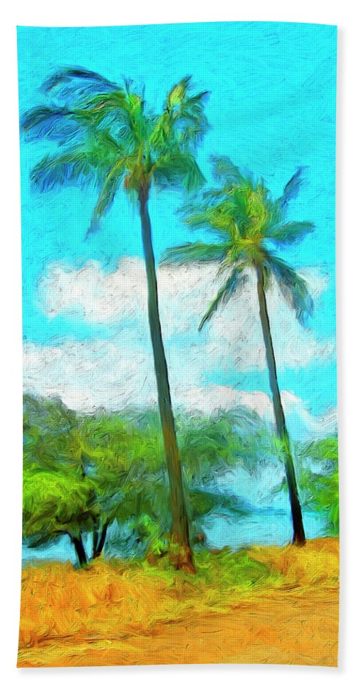 Hawaii Hand Towel featuring the painting Kona Palms by Dominic Piperata