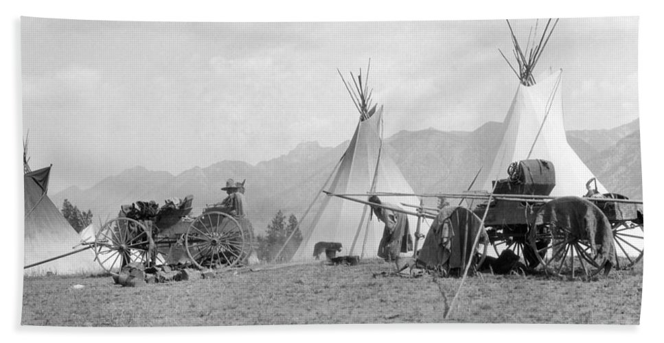 1930s Bath Sheet featuring the photograph Kootenai First Nations Camp, C.1920-30s by H. Armstrong Roberts/ClassicStock