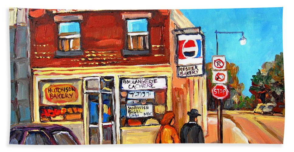 Kosher Bakery On Hutchison Hand Towel featuring the painting Kosher Bakery On Hutchison by Carole Spandau