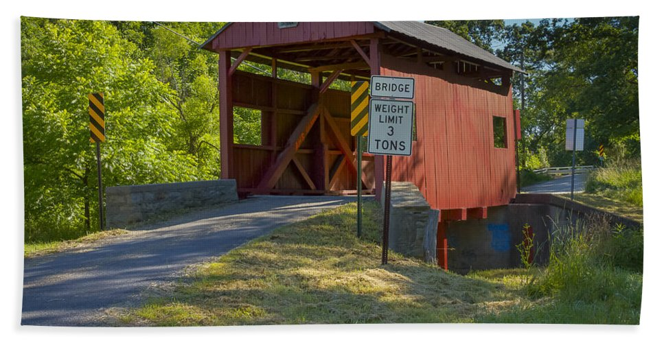 America Hand Towel featuring the photograph Krepp's Covered Bridge by Jack R Perry