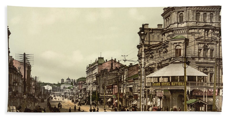 Krestchatik Hand Towel featuring the photograph Krestchatik Street In Kiev - Ukraine - Ca 1900 by International Images