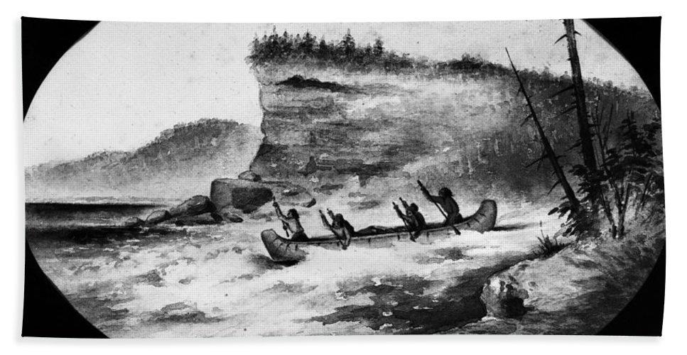 1856 Bath Sheet featuring the photograph Krieghoff: Canoe On Rapids by Granger