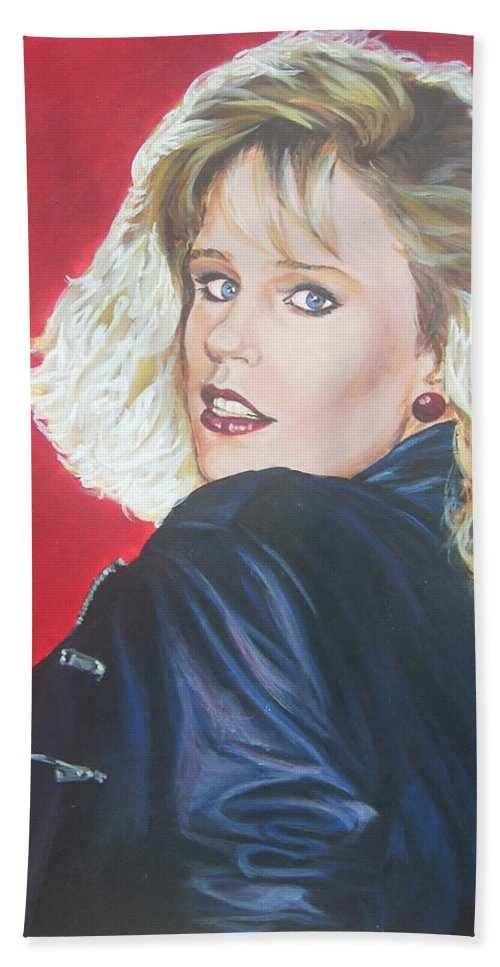 Blonde Bath Towel featuring the painting Kristi Sommers by Bryan Bustard