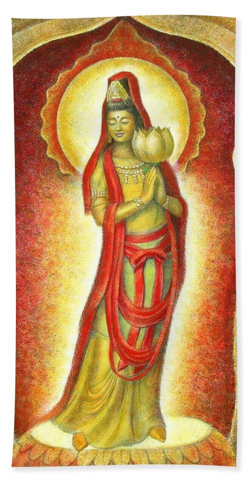 Kuan Yin Hand Towel featuring the painting Kuan Yin Lotus by Sue Halstenberg