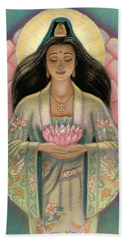 Kuan Yin Hand Towel featuring the painting Kuan Yin Pink Lotus Heart by Sue Halstenberg