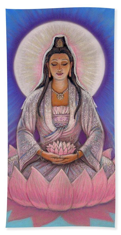Kuan Yin Hand Towel featuring the painting Kuan Yin by Sue Halstenberg