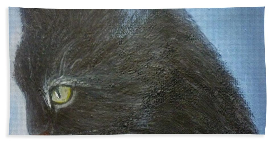 Cat Bath Sheet featuring the painting Kuki by Andreea Moldovan