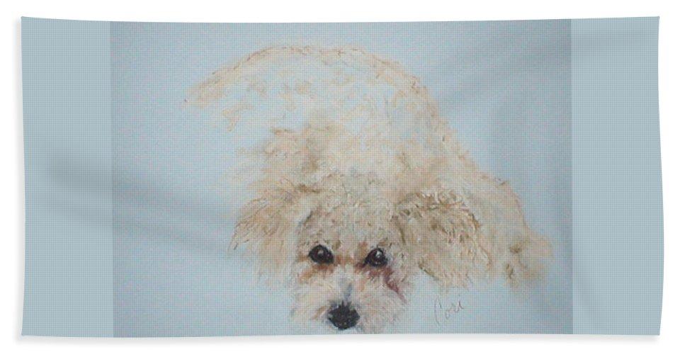 Dog Hand Towel featuring the drawing Kuku by Cori Solomon