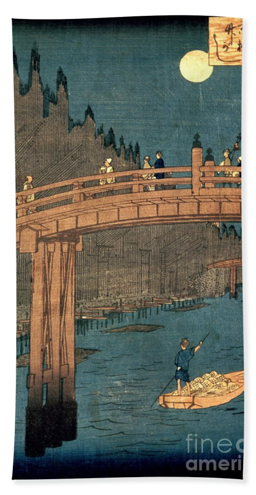 Kyoto Hand Towel featuring the painting Kyoto Bridge By Moonlight by Hiroshige
