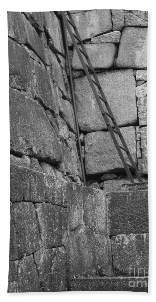 Black And White Hand Towel featuring the photograph Kyoto Palace Stone Wall by Carol Groenen