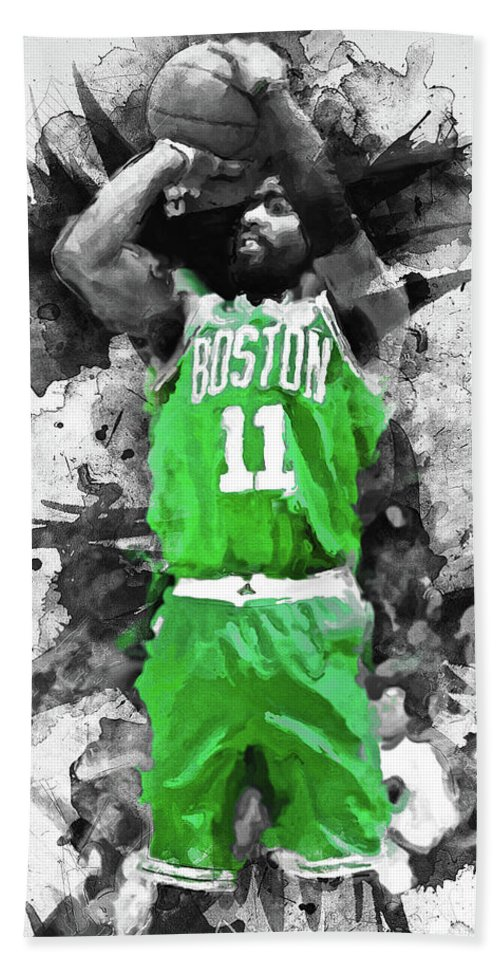 Kyrie Bath Towel featuring the painting Kyrie Irving, Boston Celtics - 05 by Andrea Mazzocchetti