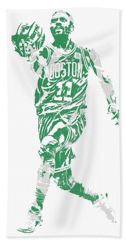 Kyrie Irving Bath Towel featuring the mixed media Kyrie Irving Boston Celtics Pixel Art 43 by Joe Hamilton