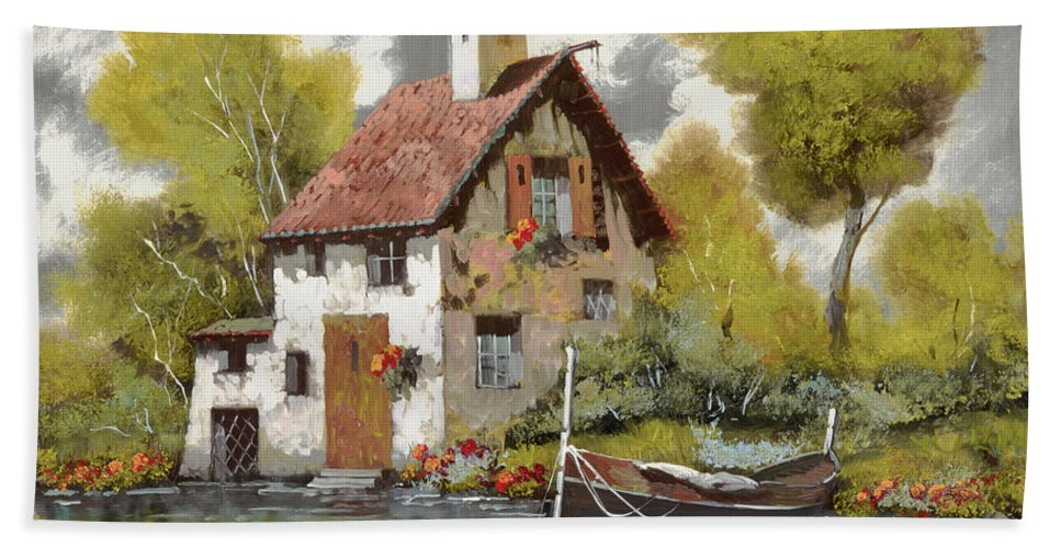 Oil On Silver Bath Sheet featuring the painting La Barca by Guido Borelli
