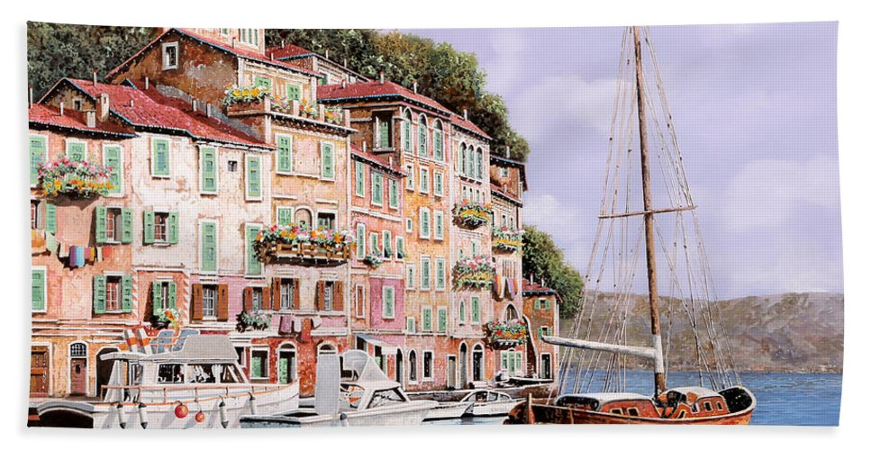 Landscape Hand Towel featuring the painting La Barca Rossa Alla Calata by Guido Borelli