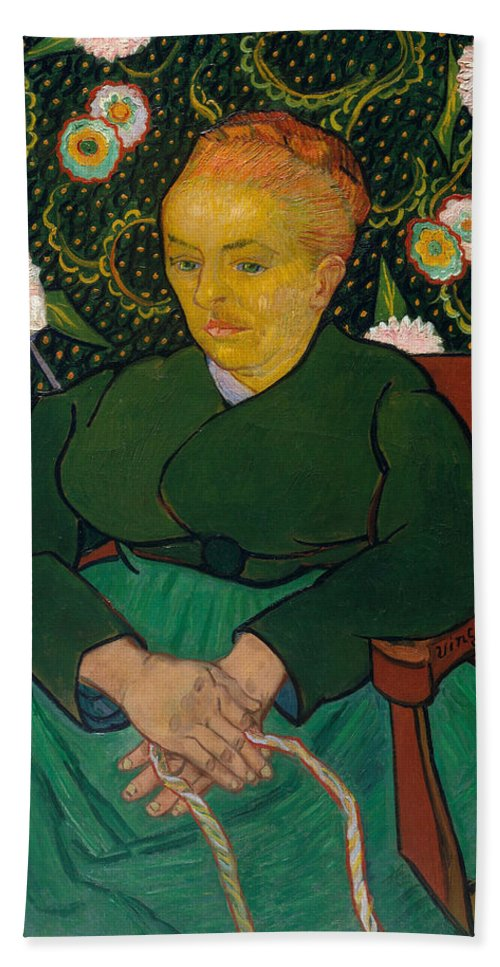 Vincent Van Gogh Hand Towel featuring the painting La Berceuse. Woman Rocking A Cradle. Augustine-alix Pellicot Roulin by Vincent van Gogh