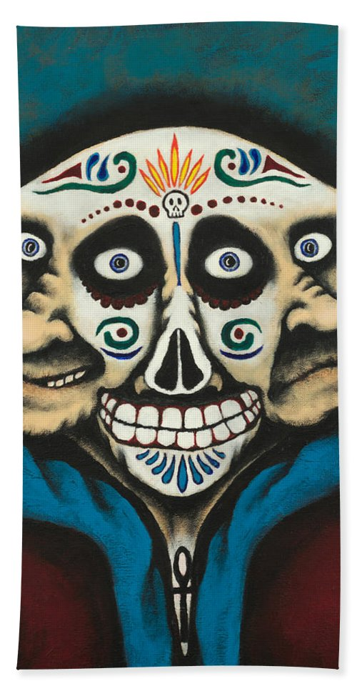 Day Of The Dead Hand Towel featuring the painting La Calaca by Robert Dickman