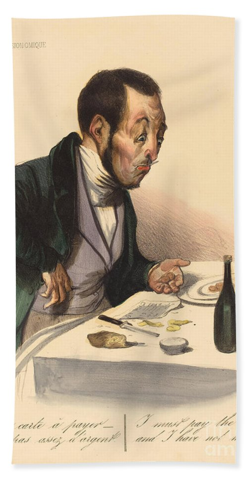 Hand Towel featuring the drawing La Carte A Payer by Honor? Daumier