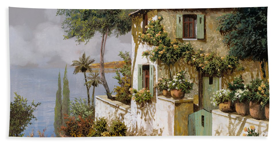 Llandscape Hand Towel featuring the painting La Casa Giallo-verde by Guido Borelli