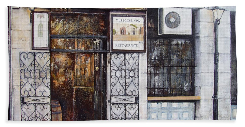 Bodega Hand Towel featuring the painting La Cigalena Old Restaurant by Tomas Castano