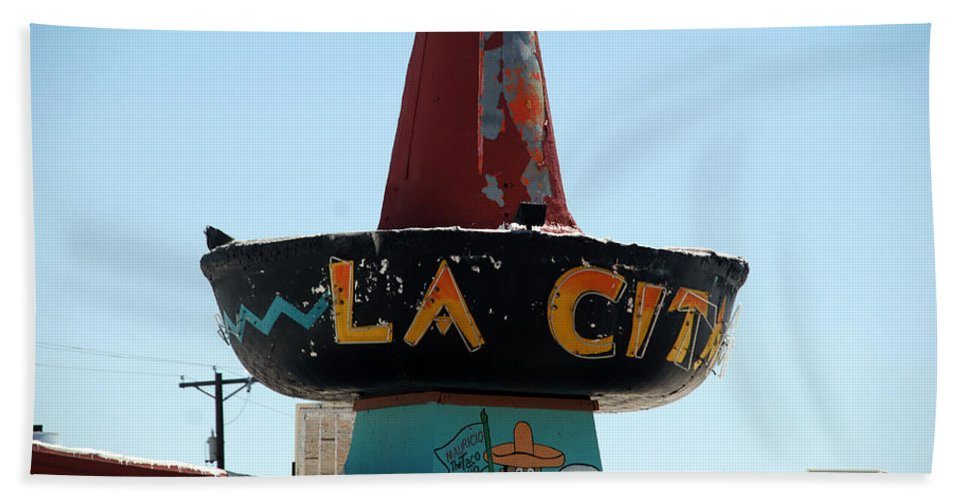 Route 66 Hand Towel featuring the photograph La Cita In Tucumcari On Route 66 Nm by Susanne Van Hulst