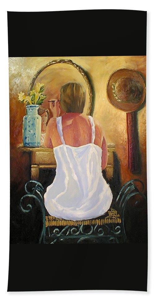 People Bath Towel featuring the painting La Coqueta by Arturo Vilmenay