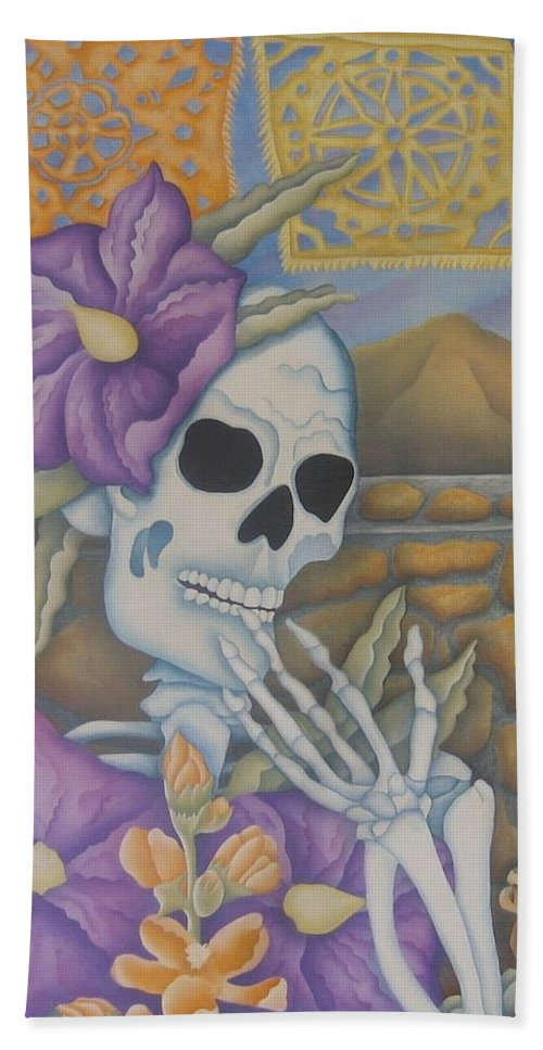 Calavera Bath Sheet featuring the painting La Coqueta- The Coquette by Jeniffer Stapher-Thomas