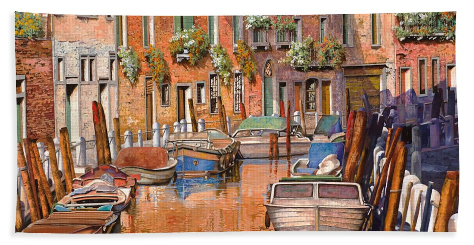 Venice Bath Towel featuring the painting La Curva Sul Canale by Guido Borelli