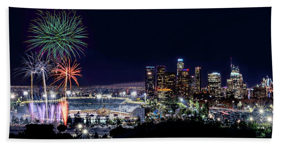 Los Angeles Bath Sheet featuring the pyrography La Dodger Fireworks by Larry Gibson