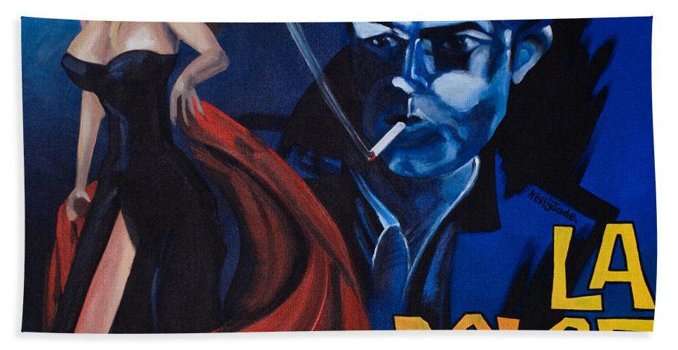 Movie Poster Hand Towel featuring the painting La Dolce Vita by Kelly Jade King
