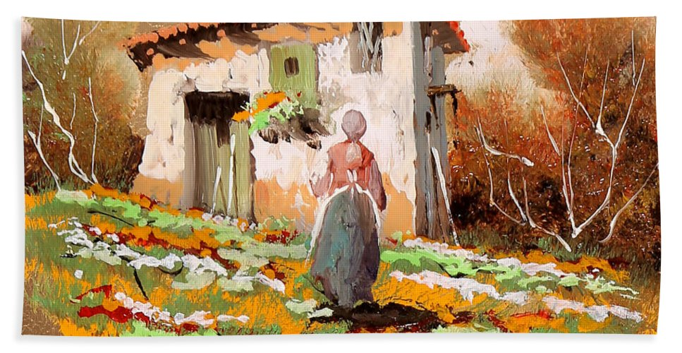 Lady Hand Towel featuring the painting La Donzelletta by Guido Borelli