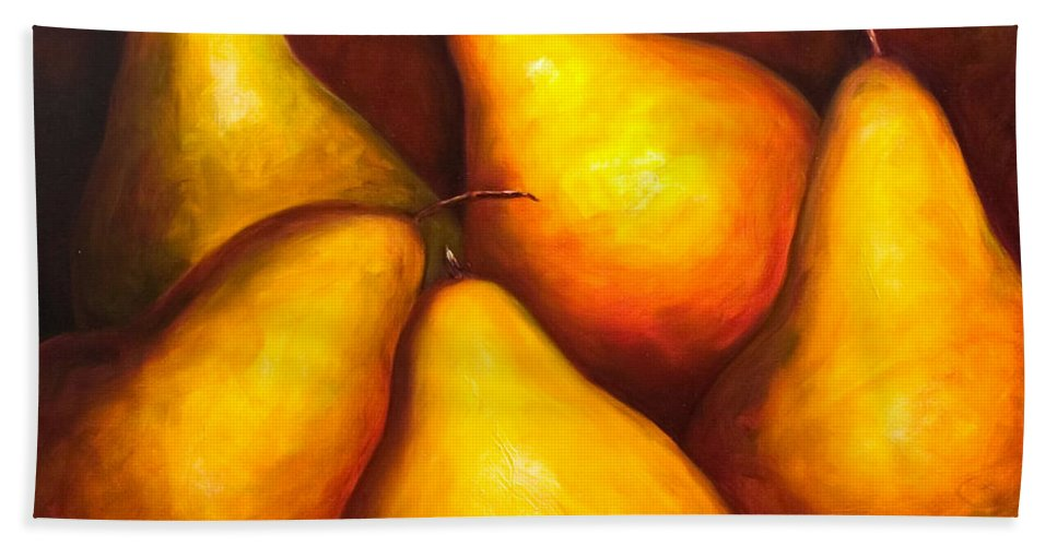 Still Life Yellow Bath Sheet featuring the painting La Familia by Shannon Grissom